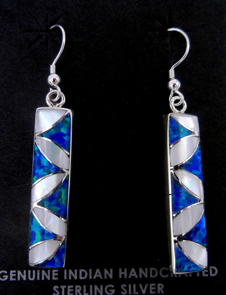 Zuni white mother of pearl, blue lab opal, and sterling silver inlay dangle earrings by Orlinda Natewa