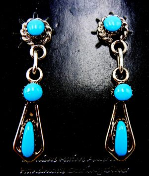 Zuni small turquoise and sterling silver dangle earrings