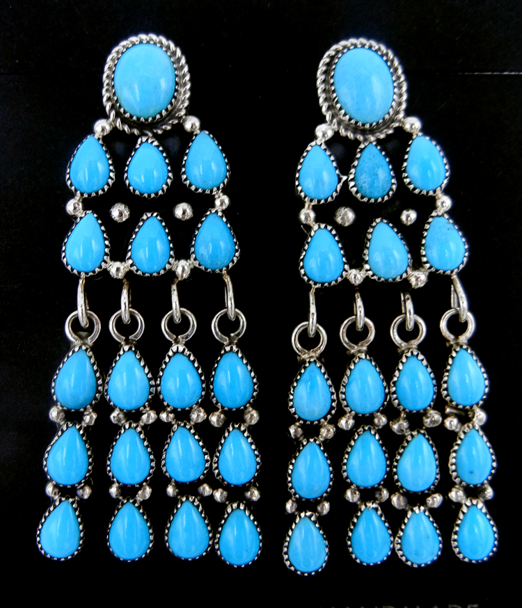 Zuni Sleeping Beauty turquoise and sterling silver cascading dangle earrings
