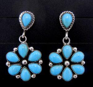 Zuni Sleeping Beauty turquoise and sterling silver flower pattern dangle earrings