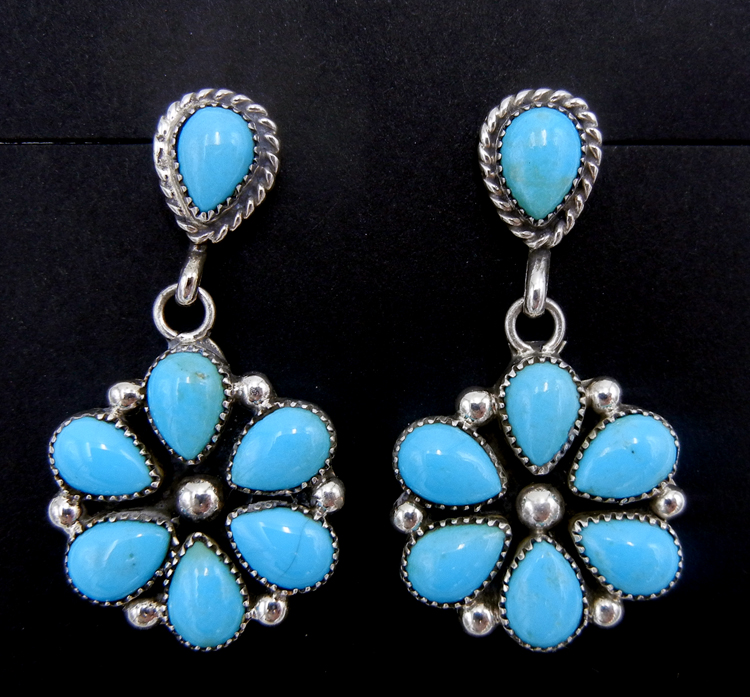 Zuni Sleeping Beauty turquoise and sterling silver flower pattern dangle earrings