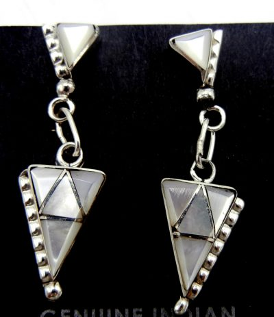 Zuni white mother of pearl and sterling silver triangular dangle earrings
