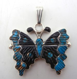Zuni turquoise, jet, and sterling silver inlay butterfly pendant