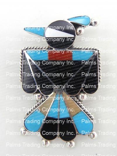 Zuni multi-stone inlay and sterling silver thunderbird pin/pendant