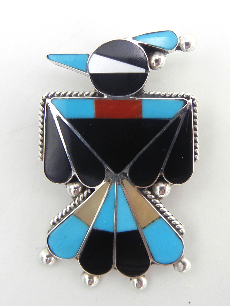 Zuni multi-stone inlay and sterling silver thunderbird pin/pendant