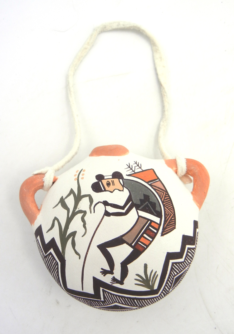 Acoma small handmade and hand painted polychrome kokopelli canteen
