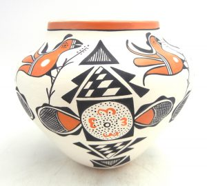 Acoma handmade and hand painted parrot and fertility design jar by Beverly Garcia