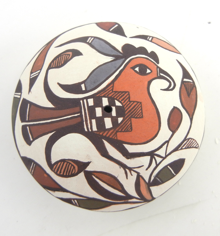 Acoma small polychrome parrot design seed pot by Diane Lewis Garcia