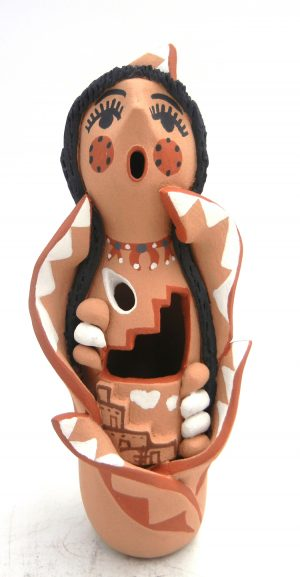 Jemez handmade and hand painted cut out corn maiden figurine by Bonnie Fragua