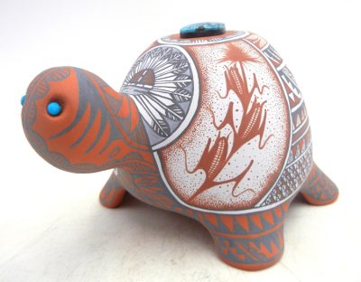 Jemez handmade and hand painted polychrome turtle figurine with turquoise by Scott Small