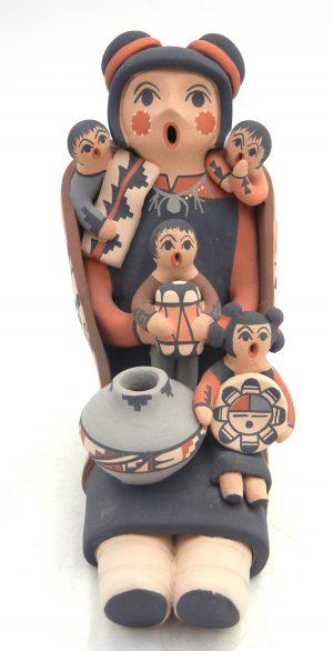Jemez seated female storyteller with four children by Linda Lucero Fragua
