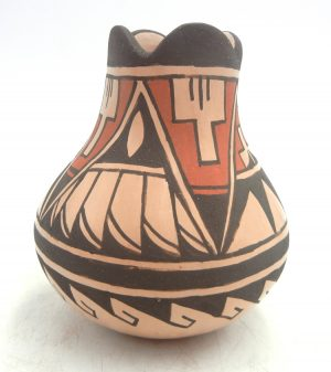 Jemez small polychrome handmade and hand painted vase by Juanita Fragua