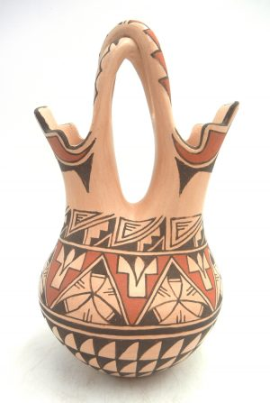 Jemez large handmade and hand painted wedding vase with twisted handle by Juanita Fragua