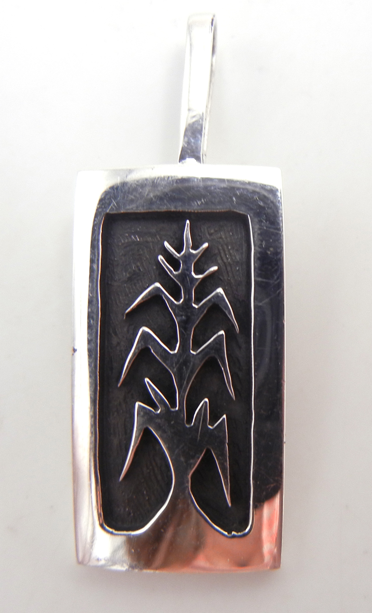 Hopi small sterling silver overlay corn stalk pendant