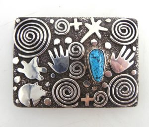 Navajo sterling silver and turquoise petroglyph style belt buckle by Alex Sanchez