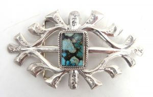 Navajo sandcast sterling silver and turquoise belt buckle by Francis Begay