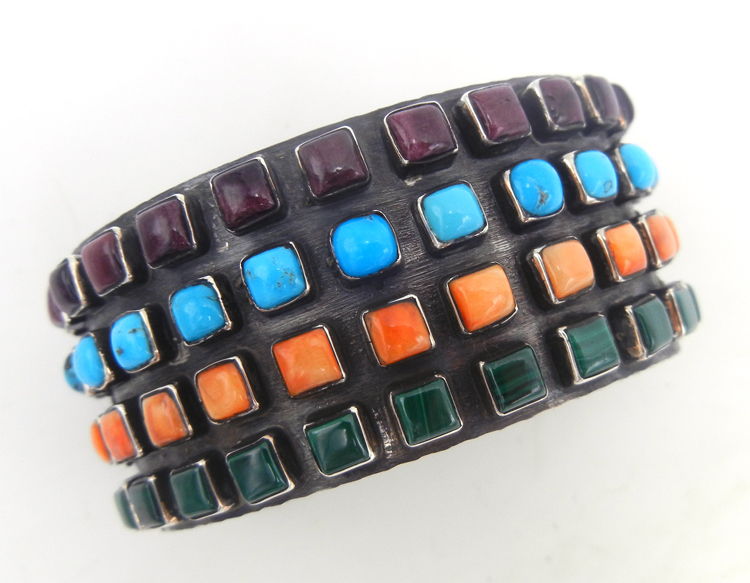Navajo multi-stone and sterling silver row cuff bracelet
