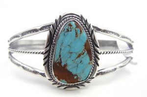 Navajo Kingman turquoise and sterling silver cuff bracelet by Will Denetdale
