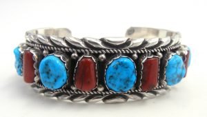 Navajo turquoise,coral, and sterling silver row cuff bracelet
