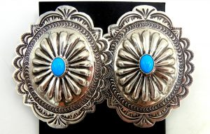 Navajo large sterling silver and turquoise concho style earrings