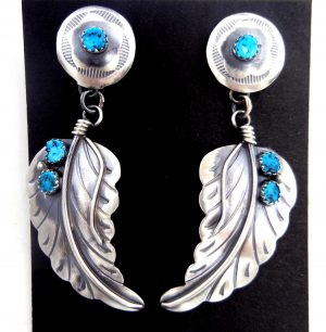 Navajo brushed sterling silver and turquoise feather dangle earrings