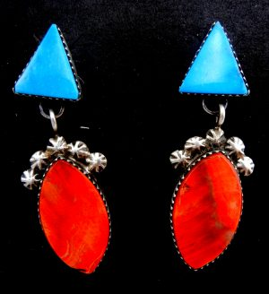 Navajo turquoise, red spiny oyster shell, and sterling silver dangle earrings by Selina Warner
