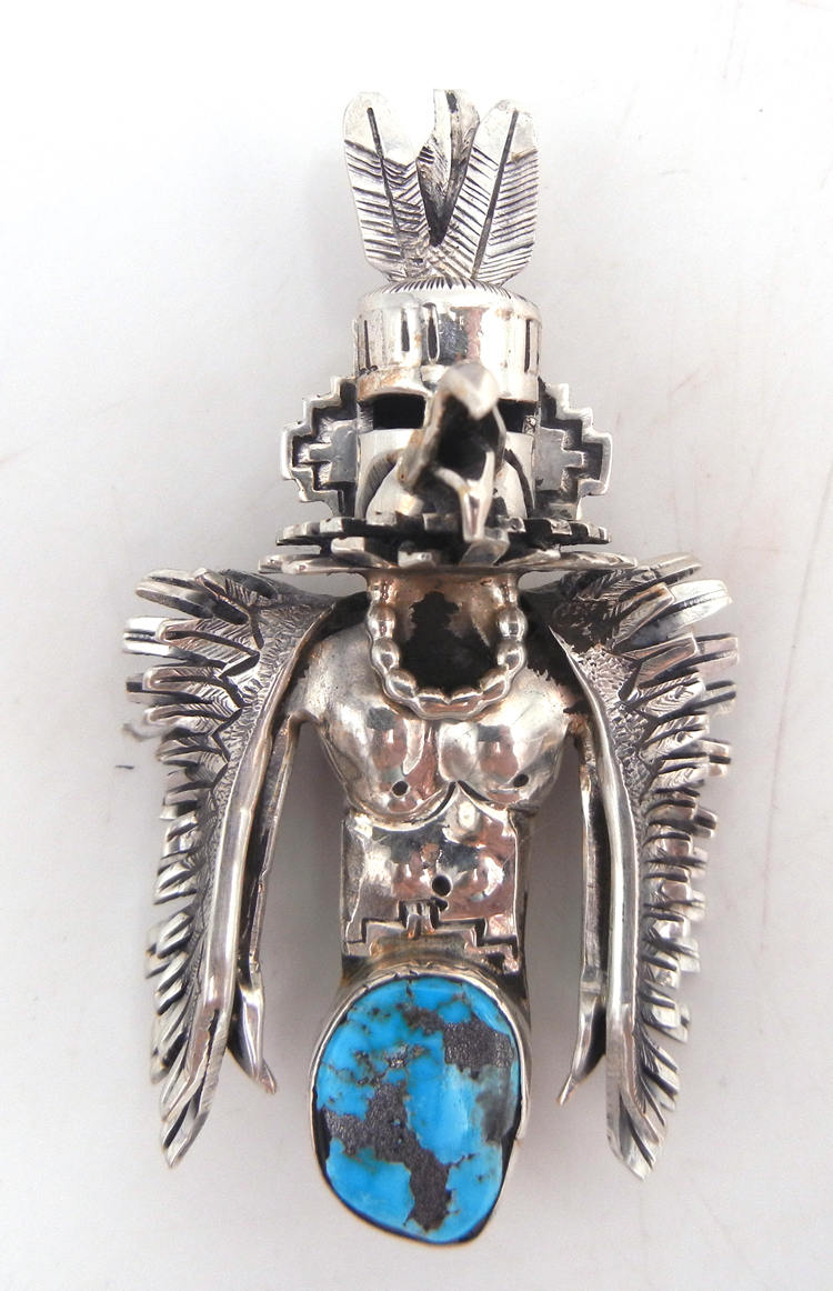 Navajo sterling silver and turquoise thunderbird pendant by Bennie Ration
