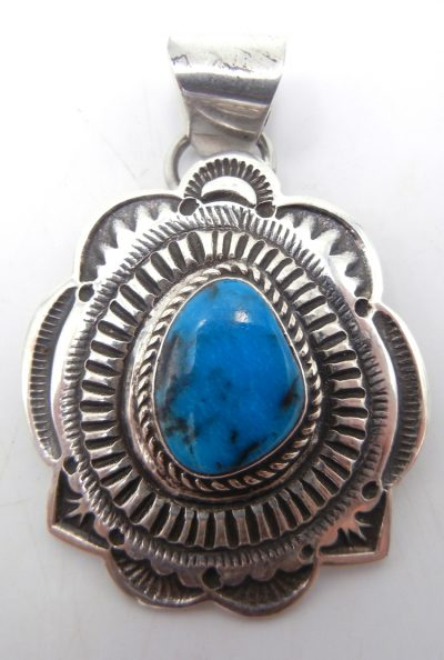Navajo Kingman turquoise and sterling silver hand stamped pendant