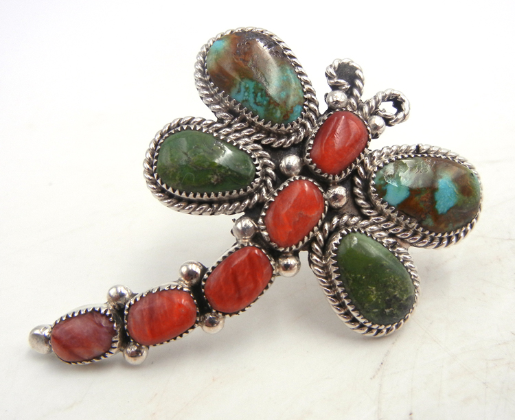 Navajo turquoise, coral, and sterling silver adjustable dragonfly ring