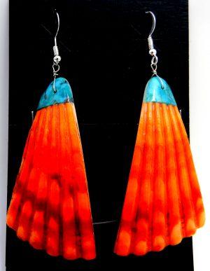 Santo Domingo orange shell dangle earrings with turquoise inlay