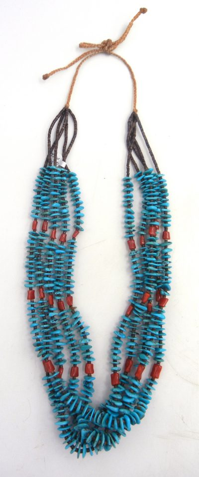 Santo Domingo turquiose, coral, and olive shell heishi five strand necklace by Irene Lovato