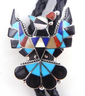 Zuni multi-stone inlay and sterling silver thunderbird bolo tie by Delwin Gasper