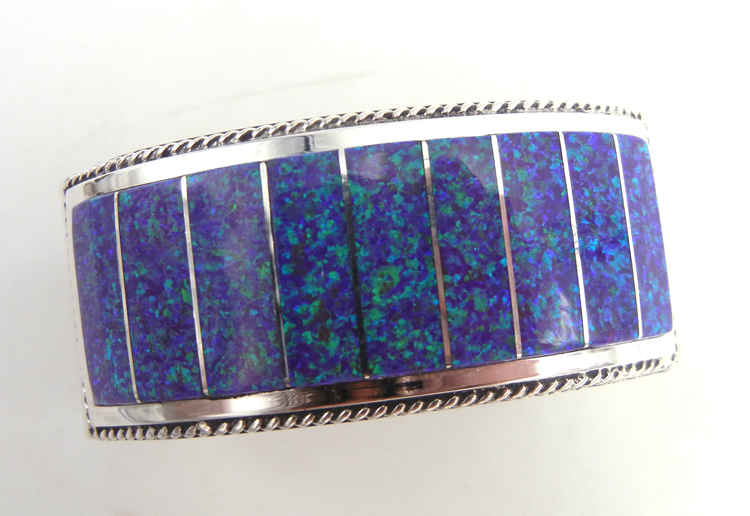 Zuni purple lab opal and sterling silver channel inlay cuff bracelet by Emery Lalacito