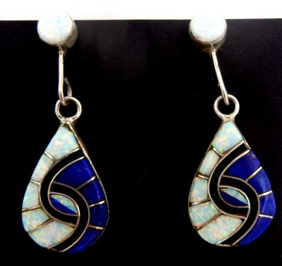 Zuni lapis, white lab opal, and sterling silver inlay hummingbird pattern dangle earrings by Amy Quandelacy