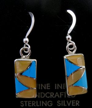 Zuni turquoise, golden mother of pearl, and sterling silver smal inlay dangle earrings by Orlinda Natewa