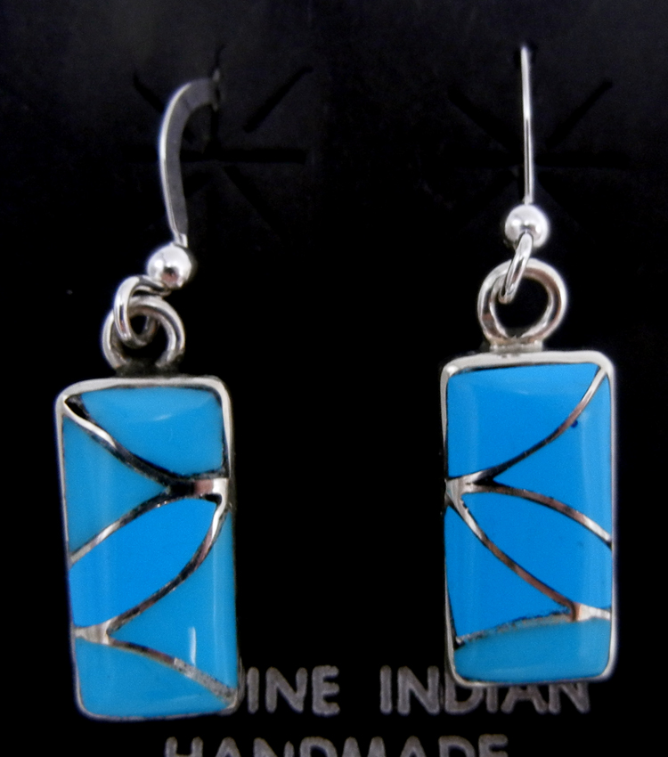 Zuni small turquoise and sterling silver inlay rectangular dangle earrings by Orlinda Natewa