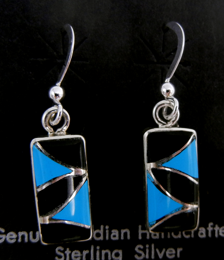 Zuni small turquoise, jet, and sterling silver inlay dangle earrings by Orlinda Natewa