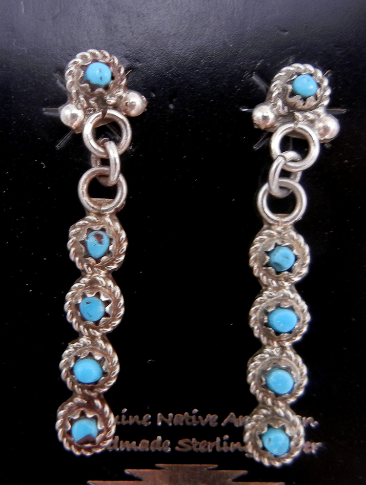 Zuni small turquoise petit point and sterling silver dangle earrings