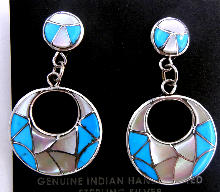 Zuni white mother of pearl, turquoise, and sterling silver inlay dangle cut out earrings