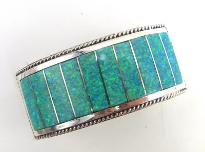Zuni green lab opal and sterling silver channel inlay cuff bracelet by Emery Lalacito