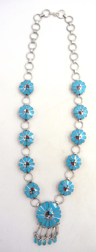 Zuni multi-stone inlay and sterling silver sunface necklace and earring set by Burdian Soseeah