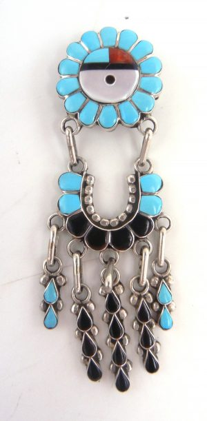 Zuni multi-stone inlay and sterling silver sunface pin/pendant with inlaid dangles