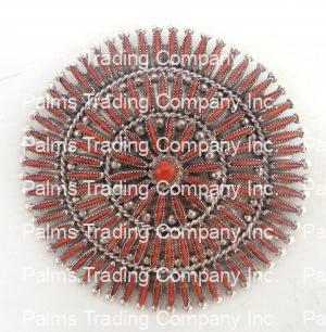 Zuni large coral needlepoint and sterling silver circle pendant by Lance and Cordelia Waatsa