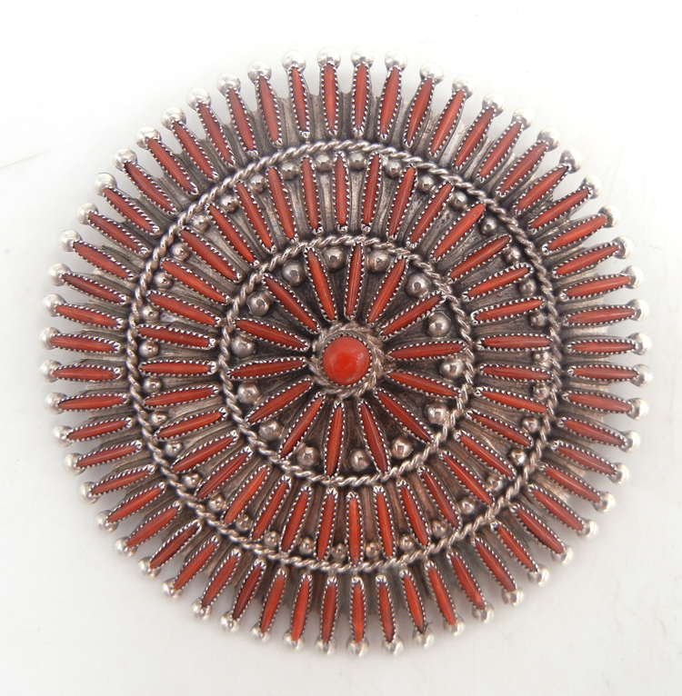 Zuni large coral needlepoint and sterling silver circle pendant by Lance and Cordelia Waatsa