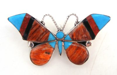 Zuni multi-stone inlay and sterling silver butterfly pin/pendant by Angus Ahiyite