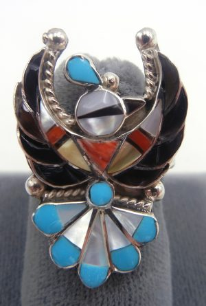 Zuni multi-stone inlay and sterling silver thunderbird ring