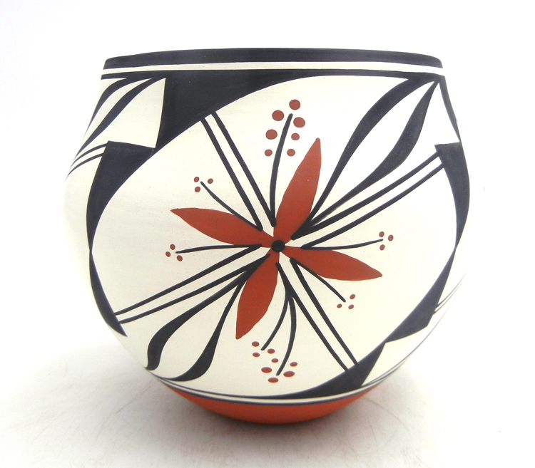 Acoma handmade polychrome floral pattern jar by David Antonio