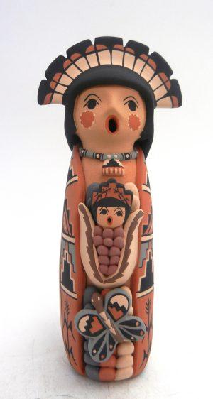 Jemez corn maiden storyteller figurine with one child by Linda Lucero Fragua
