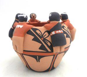 Jemez traditional handmade friendship bowl with six children by Vernida Toya