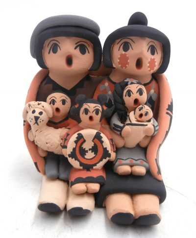 Jemez double seated storyteller figurine with four children and dog by Chrislyn Fragua